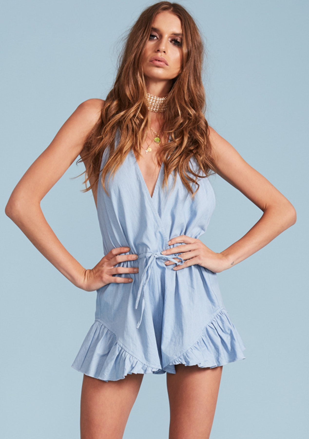 74dad4eef40f Lioness - Catalina Halter Romper - Chambray - Under  20 Womens Clearout -  Onceit