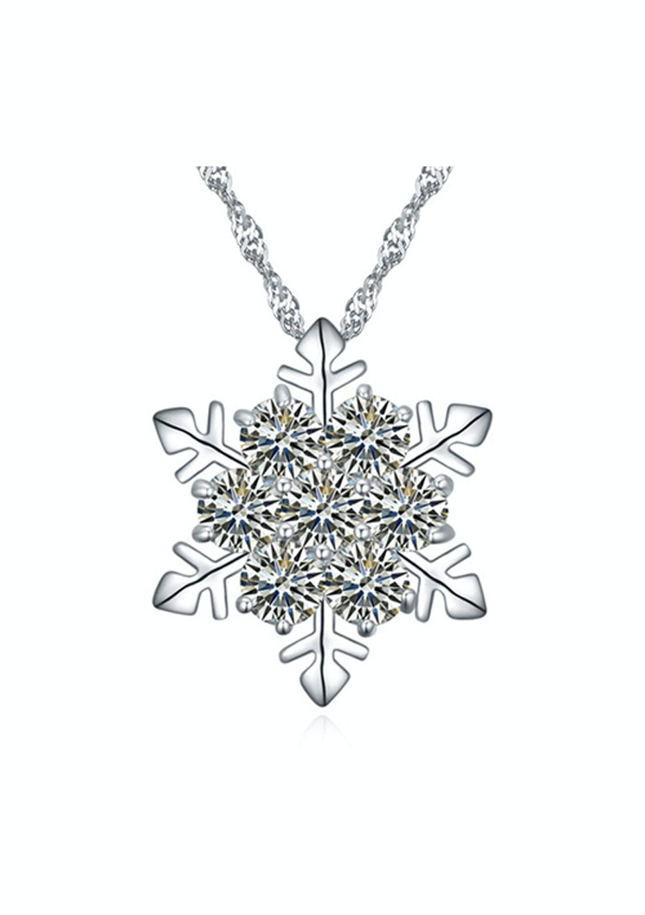 Frozen Flake Pendant Necklace Embellished with Crystals from Swarovski -CLR
